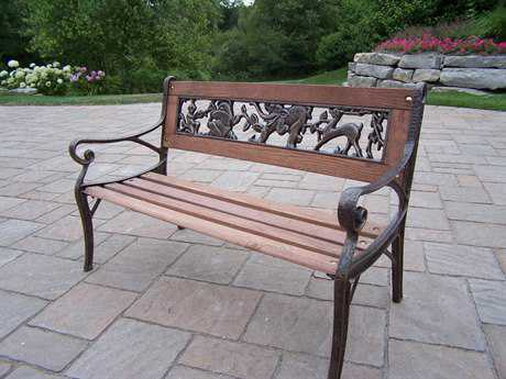 Oakland Living Animals Cast Iron Garden Decorative Bench with Animal design