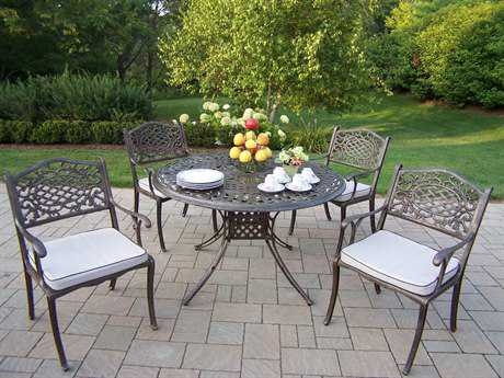 Oakland Living Capitol Cast Aluminum 48 Inch Mississippi 5pc Dining Set with Cushions