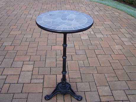 Oakland Living Stone Art Cast Aluminum 26 Round Bar Table with authentic stone PatioLiving
