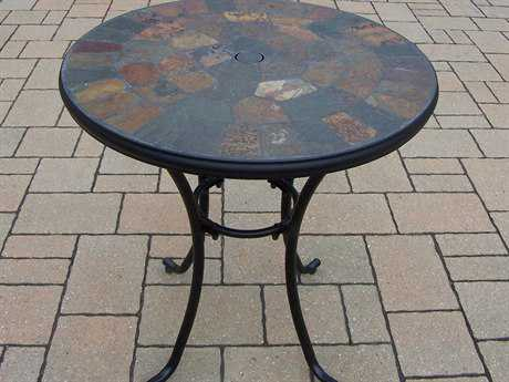 Oakland Living Stone Art Wrought Iron 26 Round Bistro Table with Real Stone PatioLiving