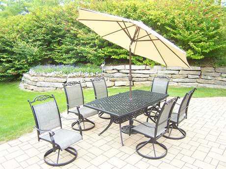 Oakland Living Cascade Aluminum 9 pc. set with Umbrella