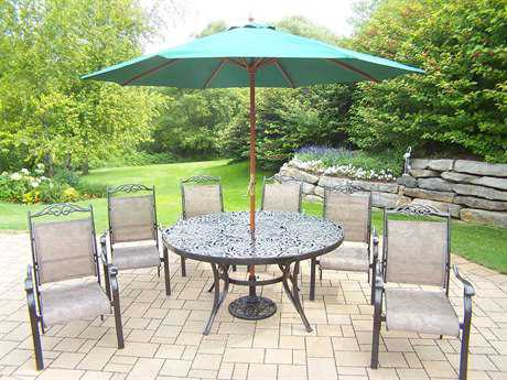 Oakland Living Mississippi Cascade Aluminum 9 Pc. Dining Set with Umbrella