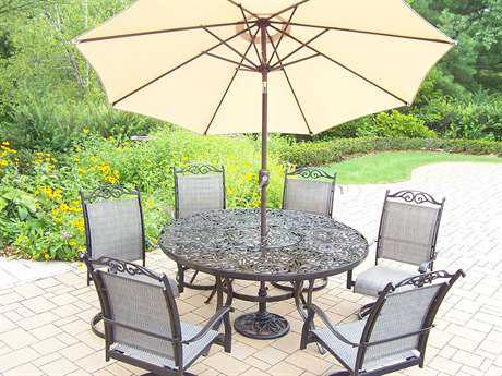 Oakland Living Mississippi Cascade Cast Aluminum 9 Pc. Dining set with Umbrella