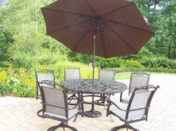 Mississippi Cascade Cast Aluminum 9 Pc. Dining set with Umbrella
