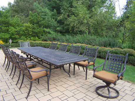 Oakland Living Belmont Aluminum 11pc Dining Set with Sunbrella Cushions