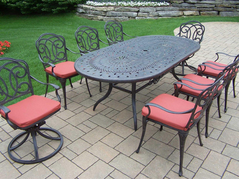Enjoyable Oakland Living Berkley Aluminum 9 Piece Dining Set Theyellowbook Wood Chair Design Ideas Theyellowbookinfo