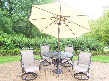Oakland Living Cascade Aluminum 7 Pc. Dining set with Umbrella