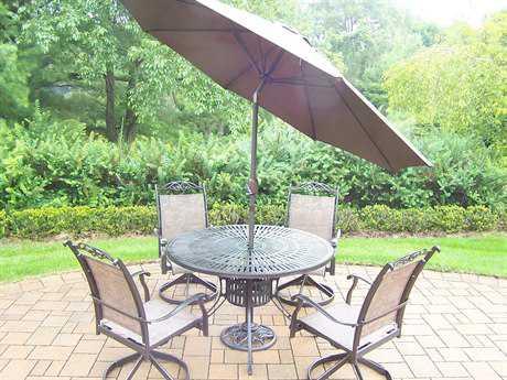 Oakland Living Cascade Aluminum 7-Piece Dining Set with Umbrella