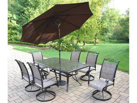 Oakland Living Cascade Aluminum 7 Pc. Dining Set with Umbrella