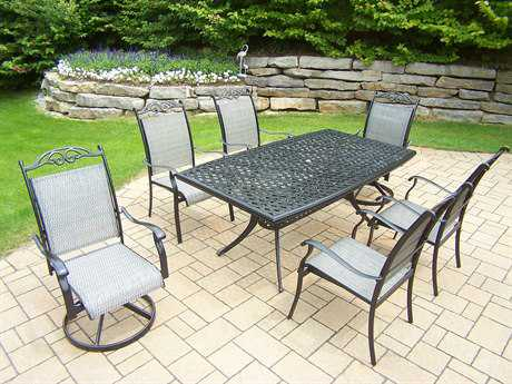 Oakland Living Cascade Aluminum 7-Piece Dining Set PatioLiving