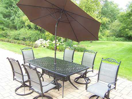 Oakland Living Cascade Aluminum 9 pc. Dining Set with Umbrella