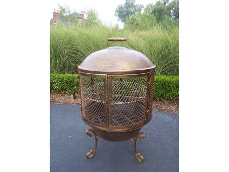 Oakland Living Chimenea Fire Pits Cast Iron Feast 360 degree fire view
