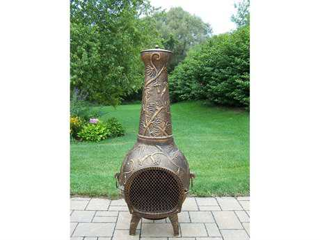 Oakland Living Leaf Cast Iron 53 inch Tall Chimenea