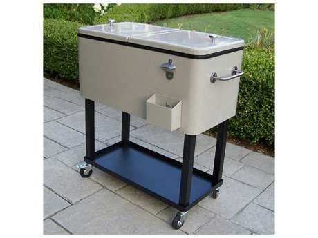 Oakland Living Coolers Steel 20-Gallon Party Cooler Cart with 360 degree rolling in Beach Sand