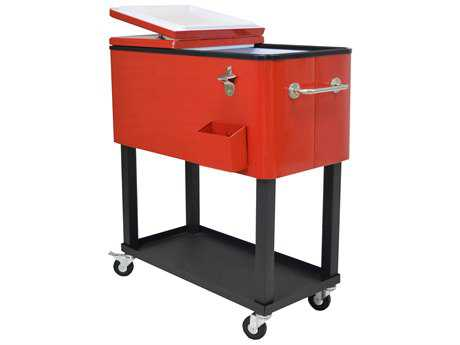 Oakland Living Coolers Steel 20-Gallon Party Cooler Cart with 360 degree rolling in Red PatioLiving
