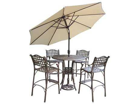 Oakland Living Elite Cast Aluminum 7 Pc. Bar Set with Umbrella