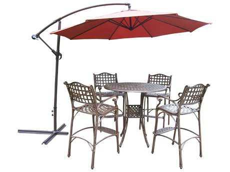Oakland Living Elite Cast Aluminum 6 Pc. Bar Set with Umbrella