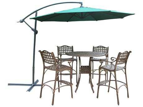 Oakland Living Elite Cast Aluminum 5 Pc Bar Set with Umbrella