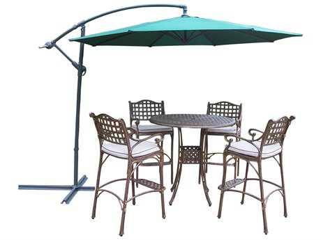 Oakland Living Elite Cast Aluminum 6 Pc. Bar Set with Cushions and Umbrella