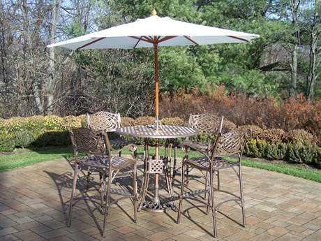 Oakland Living Elite Mississippi Cast Aluminum 7 Pc. Bar Set with Umbrella