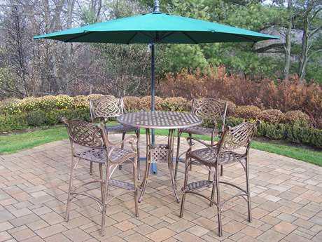 Oakland Living Elite Mississippi Cast Aluminum 6 Pc. Bar Dining Set with Umbrella