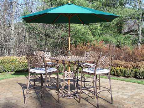 Oakland Living Elite Mississippi Cast Aluminum 7 Pc. Bar Set with Cushions and Umbrella