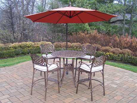 Oakland Living Elite Mississippi Cast Aluminum 6 Pc. Bar Set with Cushions and Umbrella