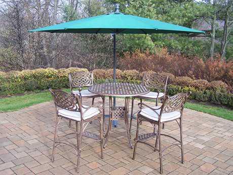 Oakland Living Elite Cast Aluminum 4 Pc. Bar Set with Cushions and Umbrella