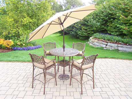 Oakland Living Elite Cast Aluminum 7 Pc. Bar Set with Cushions and Umbrella