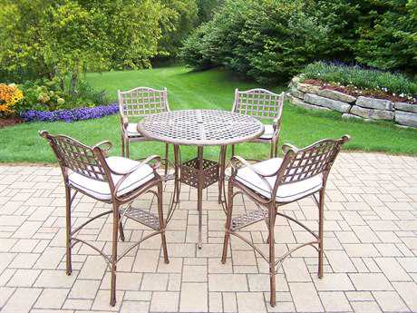 Oakland Living Elite Cast Aluminum 5 Pc. Bar Set with Cushions