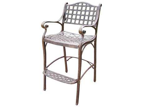 Oakland Living Elite Cast Aluminum Bar Stool with Foot-Rest in Antique Bronze