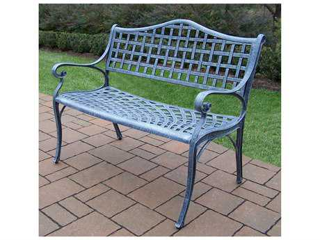 Oakland Living Elite Cast Aluminum Settee Bench in Verdi Grey