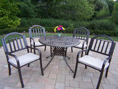 Oakland Living Elite Cast Aluminum 5 Pc. Dining Set with Cushions