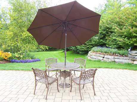 Oakland Living Elite Cast Aluminum 7 Pc. Dining Set with Umbrella