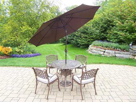 Oakland Living Elite Cast Aluminum 7 Pc. Dining Set with Cushionsn and Umbrella