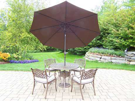 Oakland Living Elite Mississippi Cast Aluminum 7 Pc. Dining set with Cushion and Umbrella