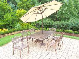 Elite Cast Aluminum 9-Piece Dining Set with Umbrella