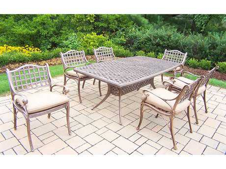 Oakland Living Elite Cast Aluminum 7-Piece Dining Set with Cushions
