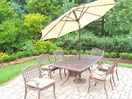 Oakland Living Elite Cast Aluminum 9 Pc. Dining Set with Cushions and Umbrella