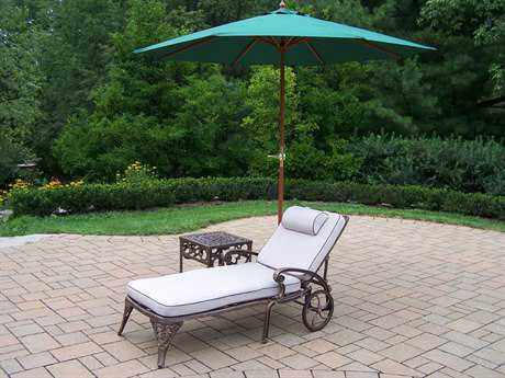 Oakland Living Elite Cast Aluminum 4 Pc. Lounge Set with Cushions and Umbrella