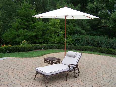 Oakland Living Elite Cast Aluminum 4 Pc. Lounge Set with Cushion and Umbrella