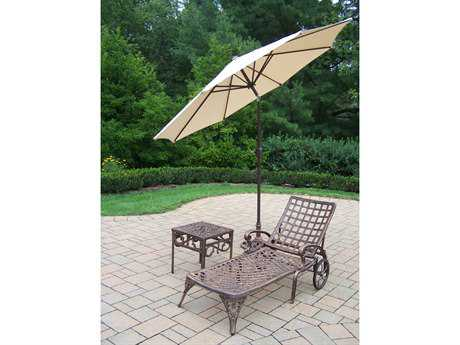 Oakland Living Elite Cast Aluminum 4 Pc. Lounge Set with Umbrella