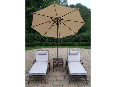 Oakland Living Elite Cast Aluminum 5 Pc. Lounge Set with Cushions and Umbrella