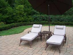 Elite Cast Aluminum 5 Pc. Lounge Set with Cushions and Umbrella