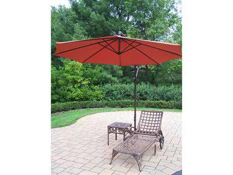 Oakland Living Elite Cast Aluminum 3 Pc. Lounge Set with Umbrella