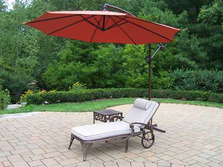 Oakland Living Elite Cast Aluminum 3 Pc. Lounge Set with Cushions and Umbrella
