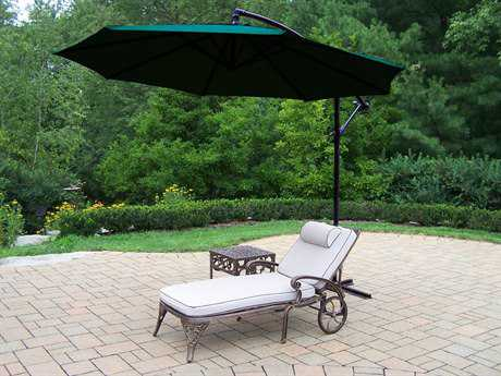 Oakland Living Elite Cast Aluminum 3 Pc. Lounge Set with Cushion and Umbrella