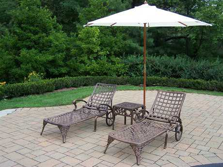 Oakland Living Elite Cast Aluminum 5 Pc. Lounge Set with Umbrella