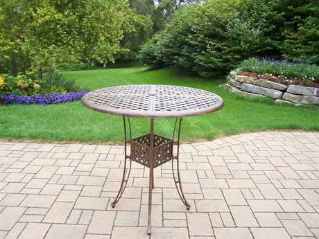 Oakland Living Elite Cast Aluminum 42 Round Bar Table in Antique Bronze