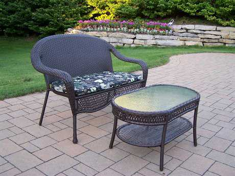 Oakland Living Elite Resin Wicker 2 Pc. Set with Cushions in Coffee